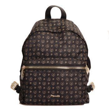 POLLINI Heritage Line – Black Fabric Backpack with Pollini Logo