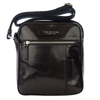 THE BRIDGE Passpartout Line – Medium Black Leather Crossbody Bag Made in Italy