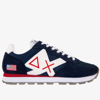 Scarpe Uomo Sun68 Sneakers Tom Logo Patch Flag Navy Blue