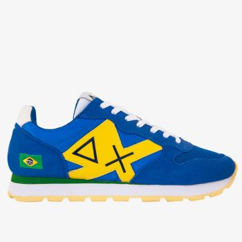 Scarpe Uomo Sun68 Sneakers Tom Logo Patch Flag Royal-Giallo