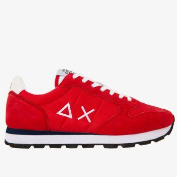 Scarpe Uomo Sun68 Sneakers Tom Solid Nylon Rosso-Bianco