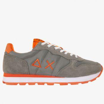 Scarpe Uomo Sun68 Sneakers Tom Solid Nylon Grigio Medio/Arancione