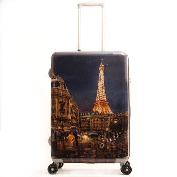Trolley Medio Y Not Midnight in Paris - Valigia 66 cm Rigida 4 Ruote 3,5 kg