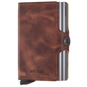 Porta Carte Doppio Scomparto con Clip SECRID linea Vintage in Pelle Cognac-Silver con RFID