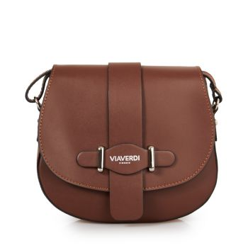 VIAVERDI Dark Chocolate Shoulder Bag With Flap Fastening Made in Italy