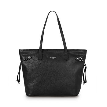 VIAVERDI Black Leather Tote Bag Made in Italy