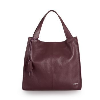 VIAVERDI Bordeaux Leather Tote Bag Made in Italy