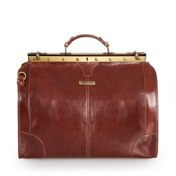 VIAVERDI Large Brown Leather Doctor Bag Made In Italy