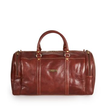 VIAVERDI Brown Leather Duffle Bag Made in Italy