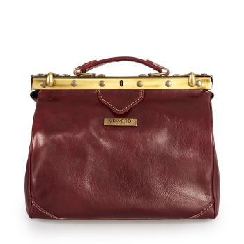 VIA VERDI Medium Bordeaux Leather Doctor Bag Made In Italy