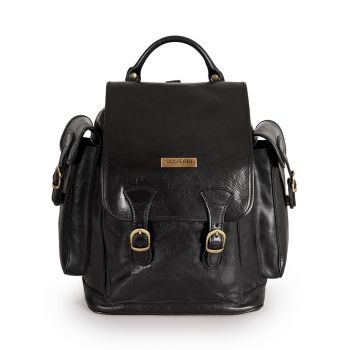 VIAVERDI Black Leather Backpack with Flap Made in Italy