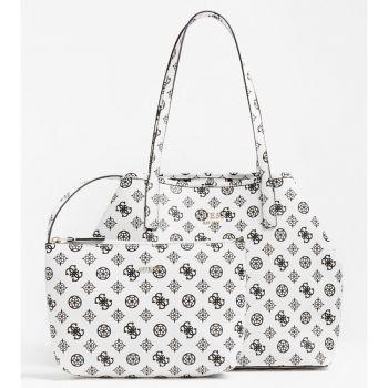 Borsa Shopper a Spalla Donna GUESS Modello Vikky Colore Bianco - Nero