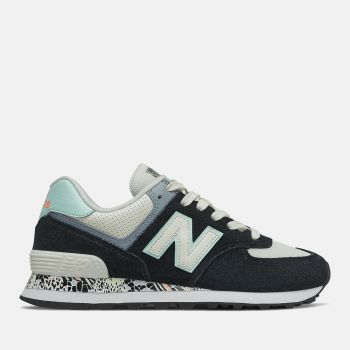 NEW BALANCE 574 Line – Mint Black Suede Fabric Leather Sneakers for Women