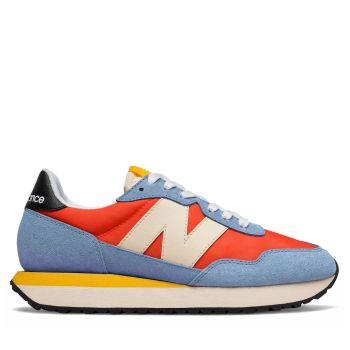 Scarpe Donna NEW BALANCE Sneakers 237 in Suede e Mesh colore Orange e Blu