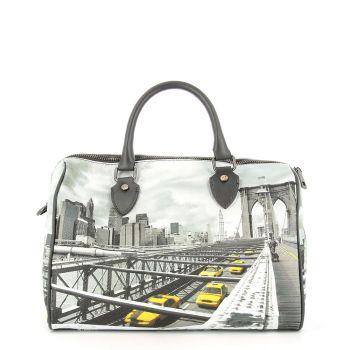 Borsa Donna Y NOT Bauletto Medio con Tracolla YES-318 New York Brooklyn Bridge