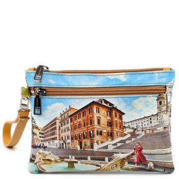 Pochette Media Donna con Zip Y NOT YES-343 Rome Fountain