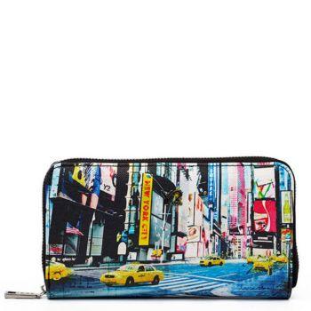 Portafoglio Donna Y NOT POP-361 New York- Chiusura Zip Around