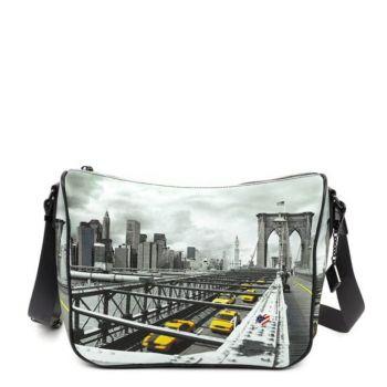 Borsa Donna Y NOT a Tracolla Regolabile linea YES-370 New York Brooklyn Bridge
