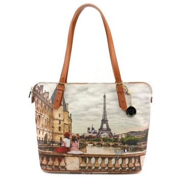 Borsa Donna Grande a Spalla Y NOT YES-377 Paris C'est La Vie