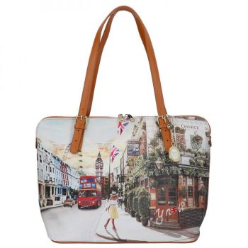 Borsa Donna Grande a Spalla Y NOT YES-377 London Pub