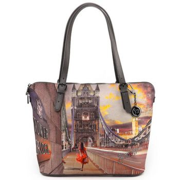 Borsa Donna Grande a Spalla Y NOT YES-377 London Tower Bridge