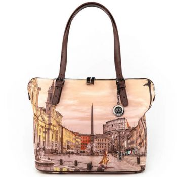 Borsa Donna Grande a Spalla Y NOT YES-377 Morning in Rome