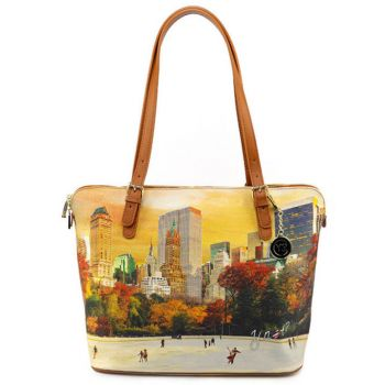 Borsa Donna Grande a Spalla Y NOT YES-377 New York Central Park