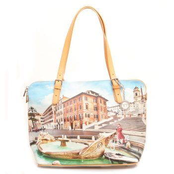 Borsa Donna Grande a Spalla Y NOT YES-377 Rome Fountain