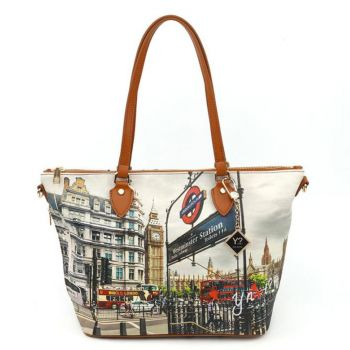 Borsa Donna Y NOT Shopping Media a Spalla con Tracolla YES-396 London Westminster Tube