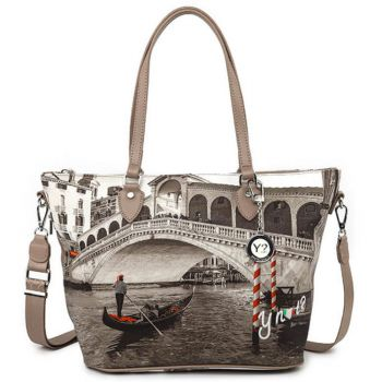 Borsa Donna Y NOT Shopping Media a Spalla con Tracolla YES-396 Venice Bridge