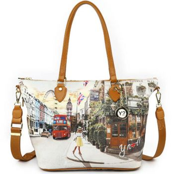 Borsa Donna Y NOT Shopping Media a Spalla con Tracolla YES-396 London Pub