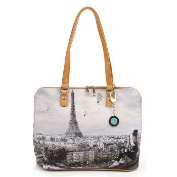 Y NOT YES-478 Line – Large Shoulder Bag with Ciel De Paris Print for Women