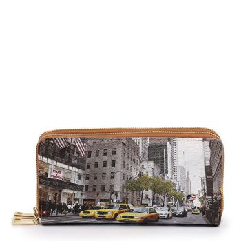 Y NOT YES-568 Line – Double Zip Around Wallet with New York Streets Print for Women