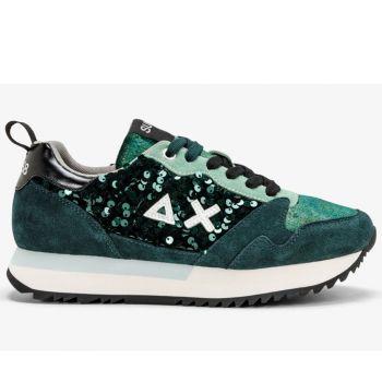 Scarpe Donna Sun68 Sneakers Kelly Paillettes Verde Scuro