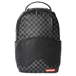 SPRAYGROUND Sharkmouth Line Henny Black Checkered Print Backpack for Men