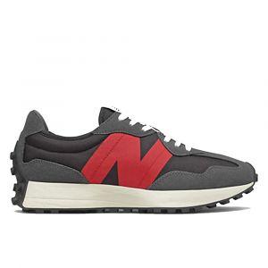 Scarpe Uomo NEW BALANCE Sneakers 327 in Suede e Mesh colore Magnet- Black - Red  e Black
