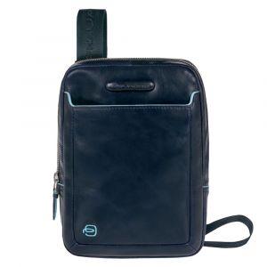 PIQUADRO Blue Square Line –  Blue Leather Crossbody Bag CA3084B2