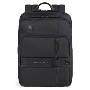 """PIQUADRO Tokyo Line – Black Fabric and Leather Backpack for 14"""" Pc CA4918S107"""