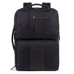 """PIQUADRO Brief Line – Blue Leather and Fabric Backpack with 17,3"""" Pc Compartment CA4972BRBM"""