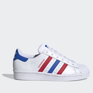 Scarpe Donna ADIDAS Sneakers linea Superstar J in Pelle Bianco Blu e Rosso
