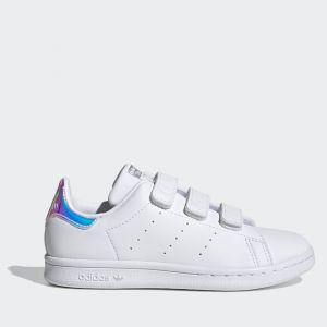 Scarpe Bambino ADIDAS Sneakers linea Stan Smith CF C colore Bianco e Argento Metallizzato