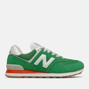 Scarpe Uomo NEW BALANCE Sneakers 574 in Suede e Mesh colore Varsity Green e Velocity Red