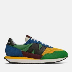 Scarpe Uomo NEW BALANCE Sneakers 237 in Suede e Mesh colore Blue e Team Gold