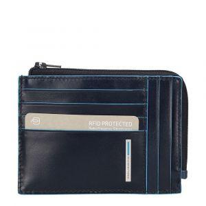 Porta Carte Chiuso con Zip PIQUADRO In Pelle Blu - PU1243B2R Linea Blue Square