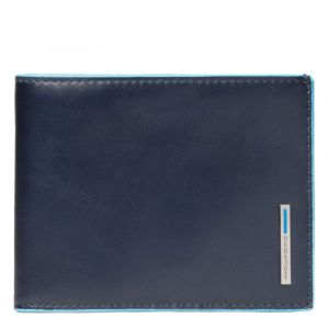 PIQUADRO Blue Square Line – Blue Leather Wallet with Coin Pouch PU257B2