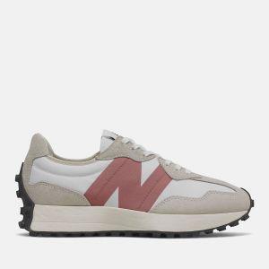 Scarpe Donna NEW BALANCE Sneakers 327 in Suede e Mesh colore Light Grey e Rose