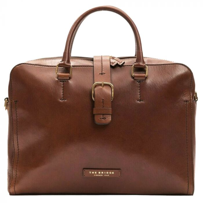 "Cartella Porta Pc 14"" e Tablet THE BRIDGE in Pelle Marrone linea Fitzroy Made in Italy"