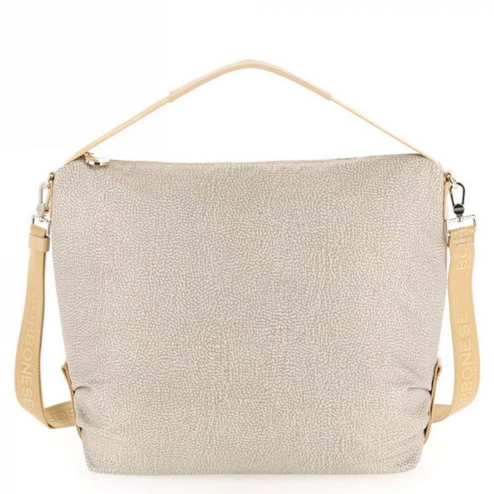 Borsa Donna Hobo Bag Large BORBONESE in Tessuto linea Jet Op Colore Beige