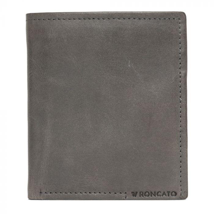 Portafoglio Piccolo in Pelle Grigio con chiusua a Clip e portamonete - Roncato Echo