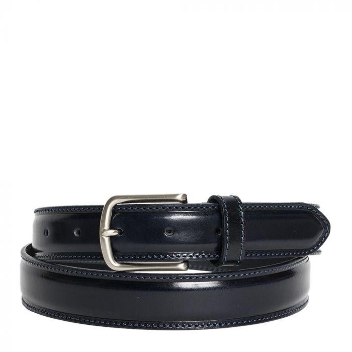 Cintura Uomo in Pelle di Vitello Spazzolato Blu 3,5cm - Made in Italy